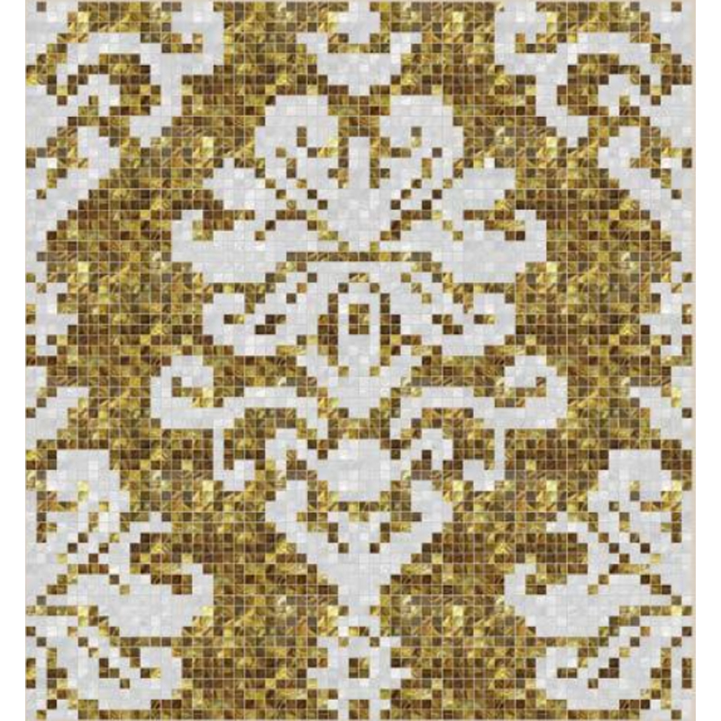 "Fresco 2 Floral Seashell Mosaic Tile Panel, 67.56 x 67.56"", 1 Section"